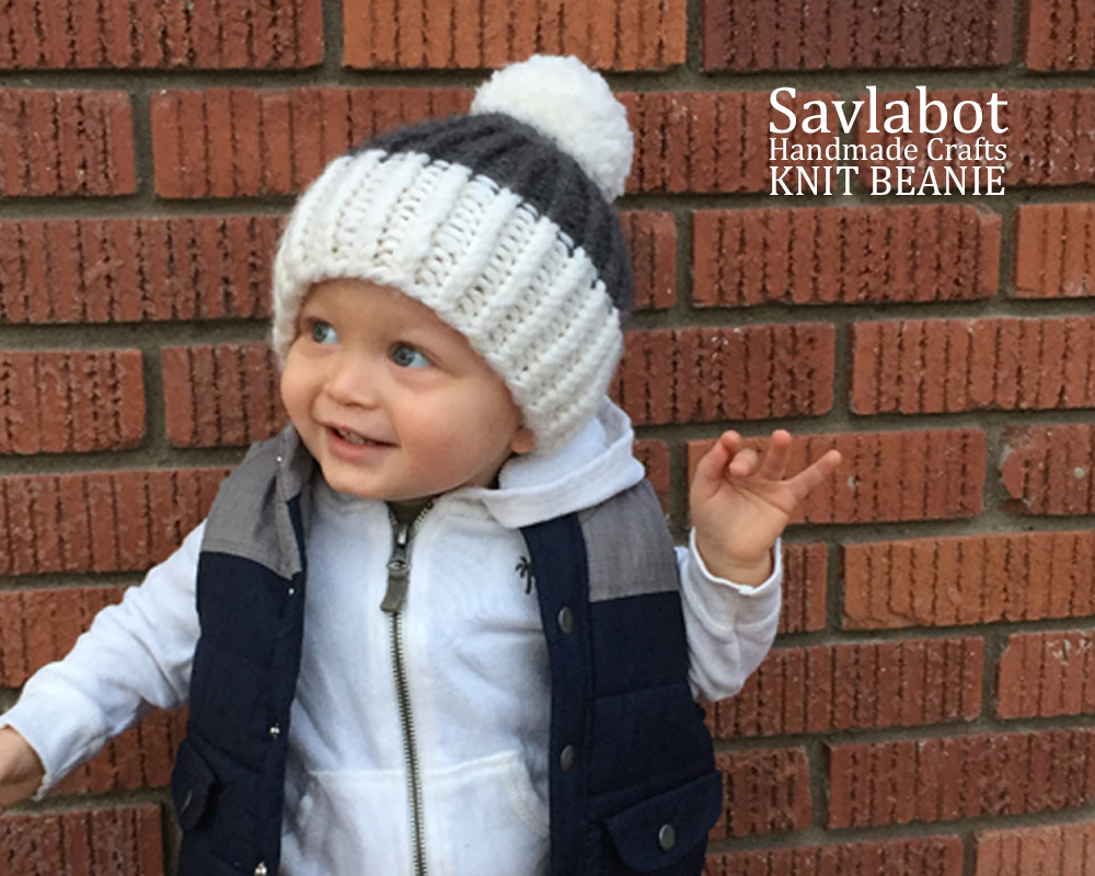 Two Color Ribbed Knit Beanie
