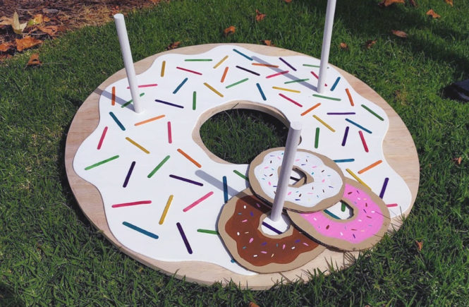 donut, donut ring toss, game, ring toss game, diy ring toss, party game, backyard game, ring toss game for kids, for kids