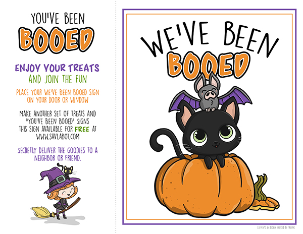 graphic about You've Been Booed Free Printable identified as No cost Halloween Booed Printable Savlabot